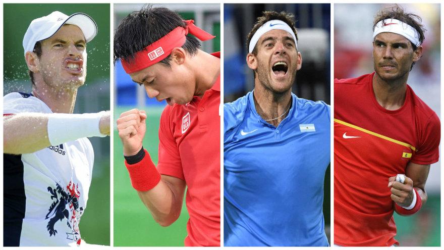 Andy Murray, Kei Nishikoris, Juanas Martinas del Potro ir Rafaelis Nadalis