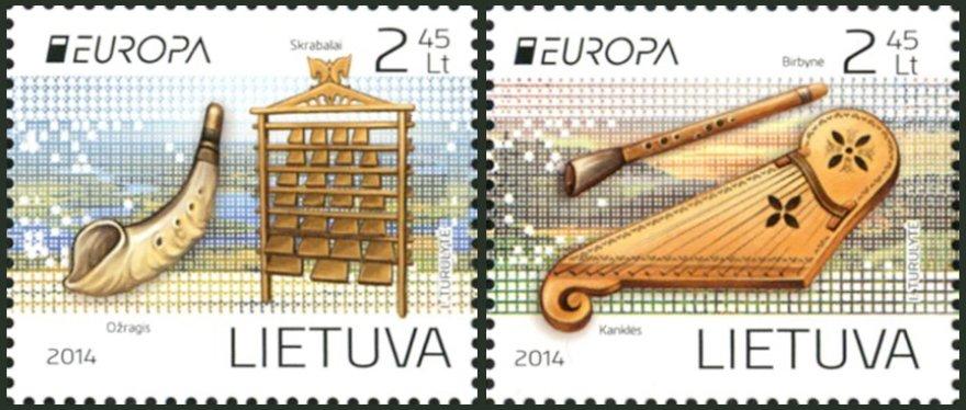 Pašto ženklai su muzikos instrumentais