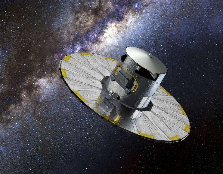 """Menininko pavaizduotas Europos kosmoso agentūros ŪESA) """"Gaia"""" teleskopas"""