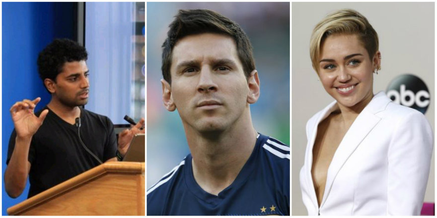 Iš kairės: Naveenas Selvadurai, Lionelis Messi, Miley Cyrus