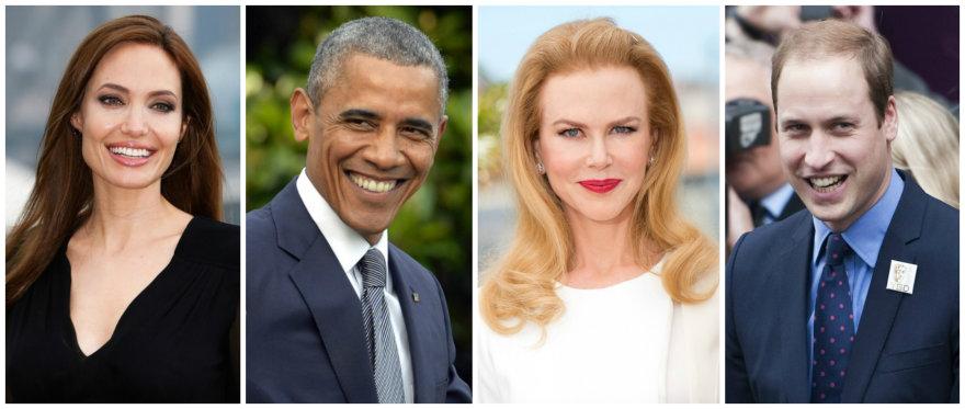 Garsūs kairiarankiai: Angelina Jolie, Barackas Obama, Nicole Kidman ir princas Williamas