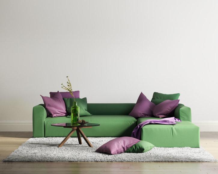 Violetinės spalvos akcentai interjere
