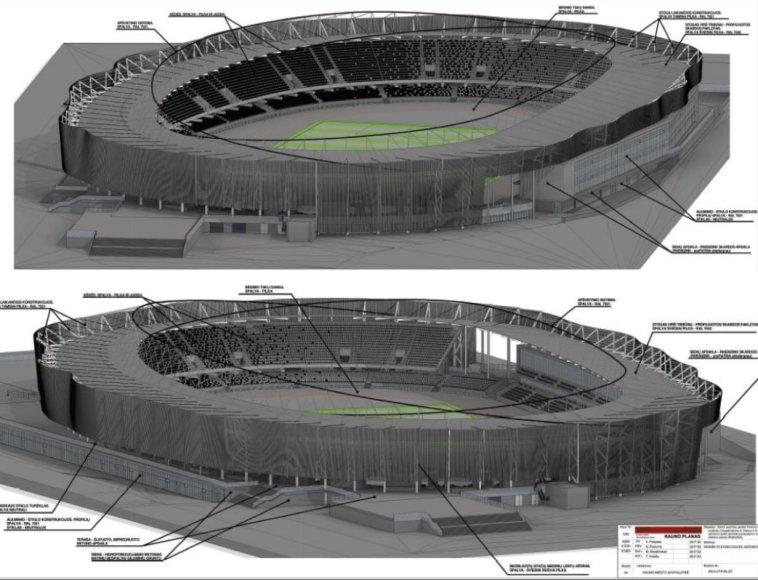 Kauno miesto savivaldybės nuotr./S.Dariaus ir S.Girėno stadiono vizualizacijos