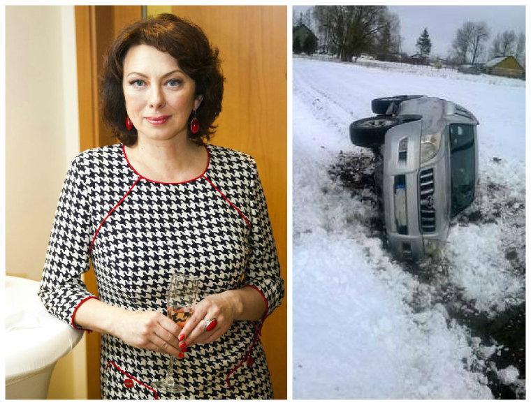 Daiva Tamošiūnaitė ir jos apvirtęs automobilis