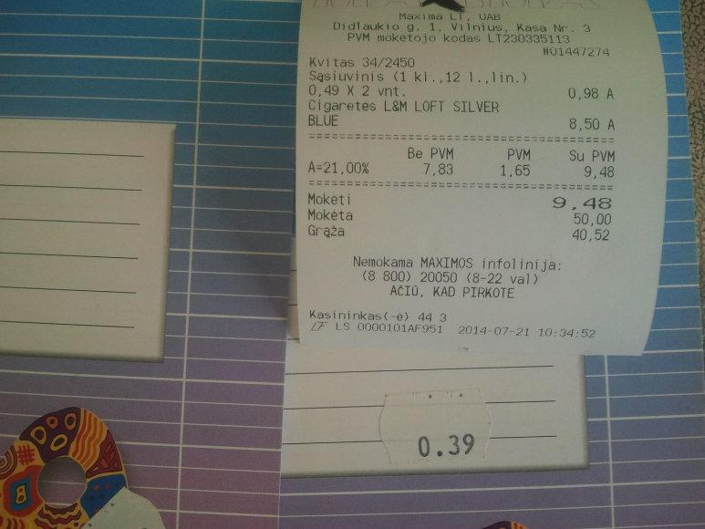Sąsiuvinio kainos skirtumai