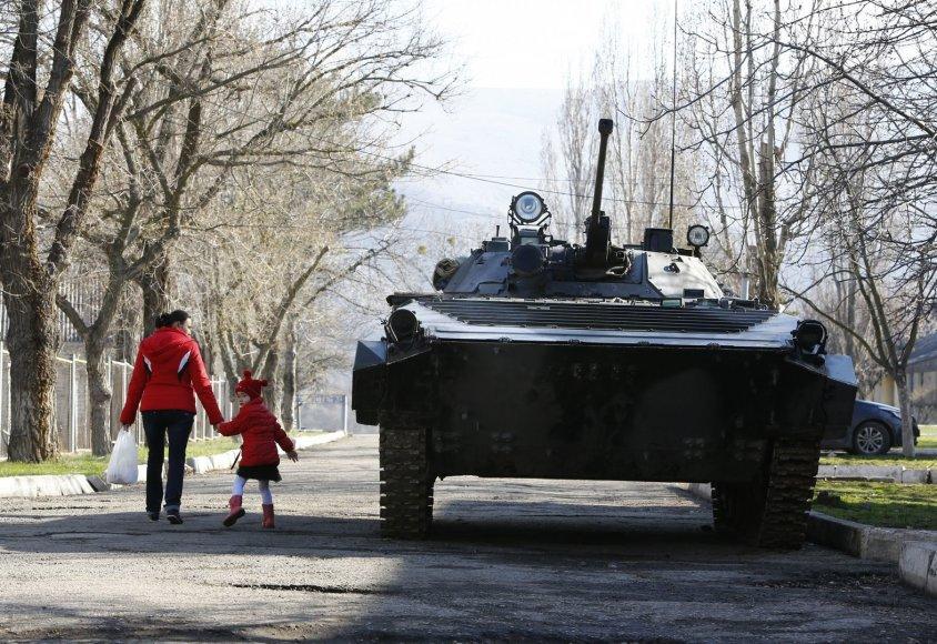 Tankas miesto parke Kryme