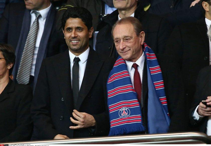 PSG vadovas Nasseras El Khelaifi ir Paryžiaus meras Bertrandas Delanoe