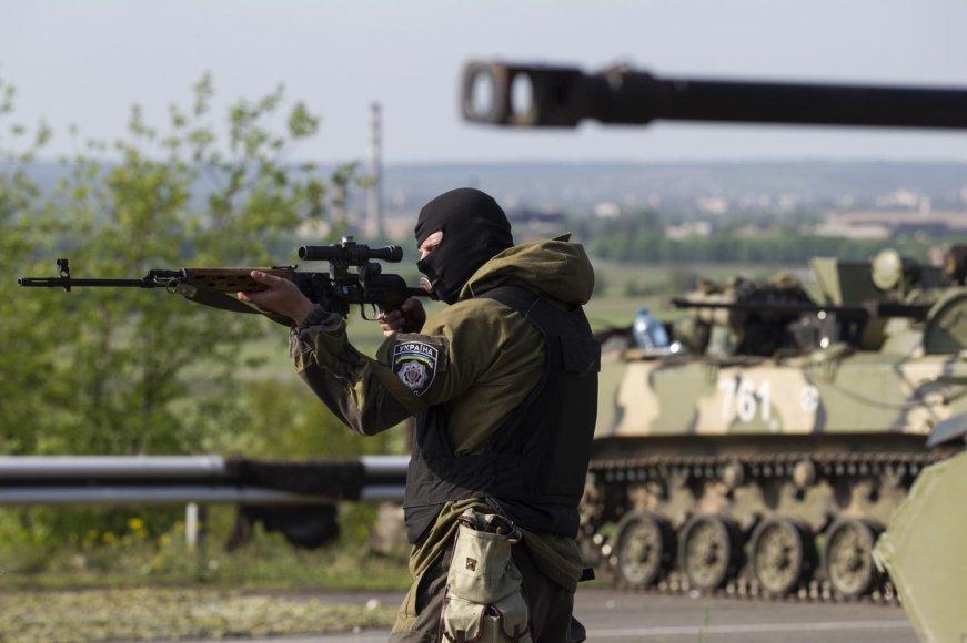Ukrainos karys netoli Slovjansko miesto