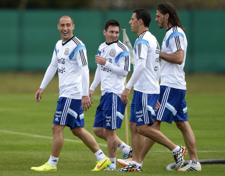 Iš kairės: Pablo Zabaleta, Lionelis Messi, Maximiliano Rodriguezas ir Martinas Demichelis