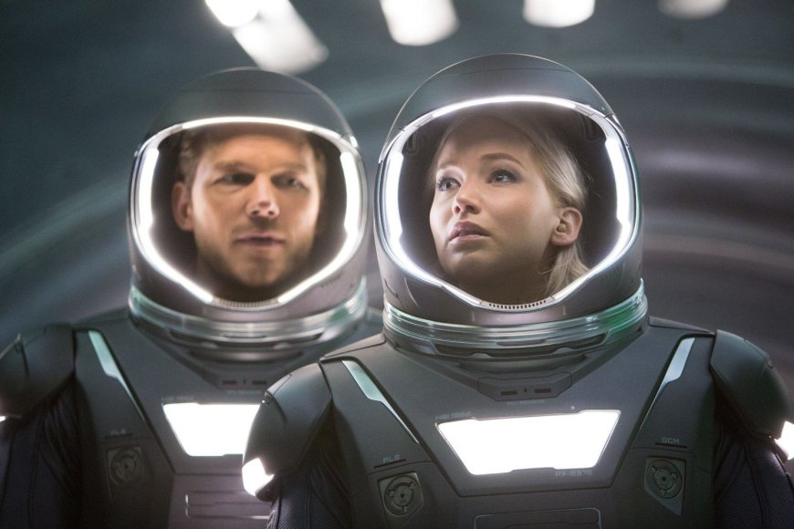 """Chrisas Prattas ir Jennifer Lawrence filme """"Pakeleiviai"""""""