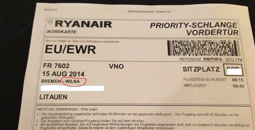 """Ryanair"" bilietas"