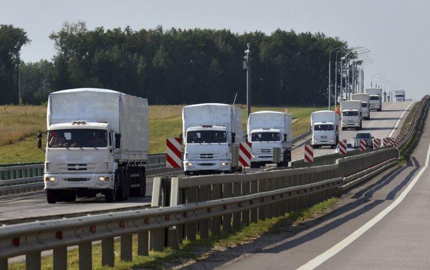 Rusijos humanitarinės pagalbos sunkvežimių kolona.