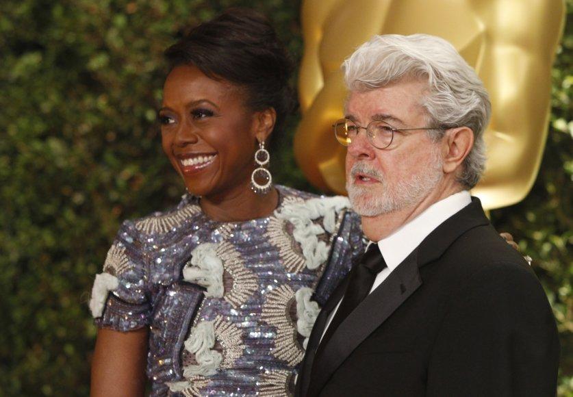 Režisierius George'as Lucasas su žmona Mellody Hobson