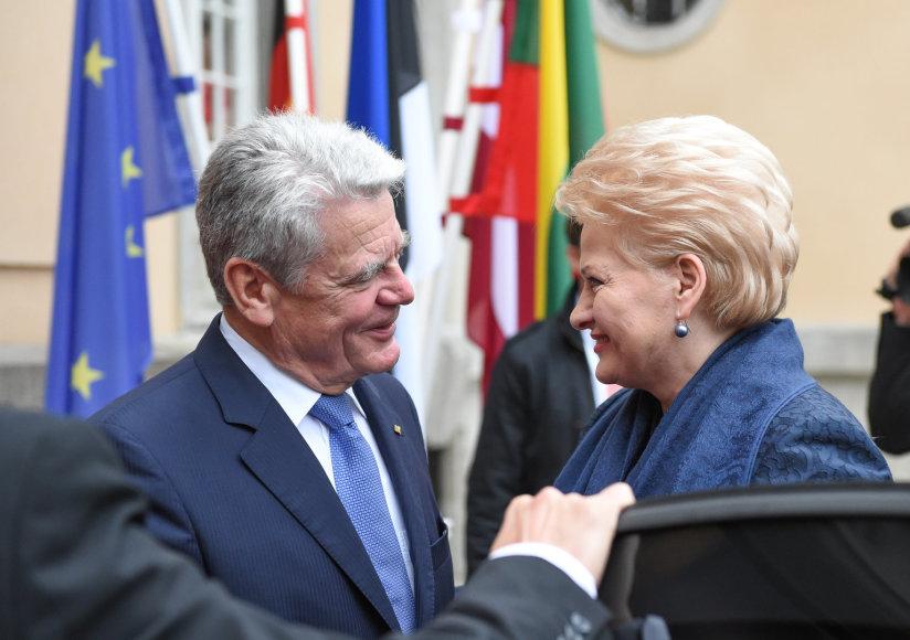 Vokietijos prezidentas Joachimas Gauckas ir Lietuvos prezidentė Dalia Grybauskaitė,