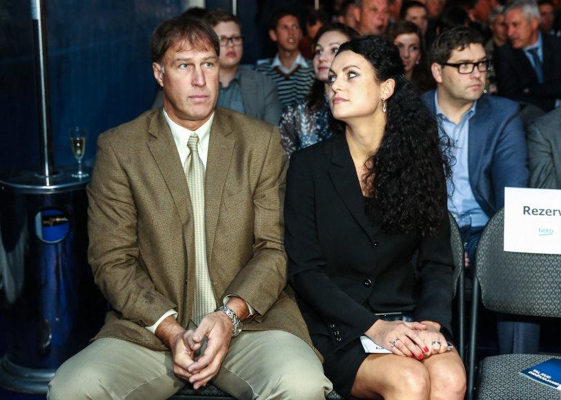 Šarūnas Marčiulionis su žmona Laura