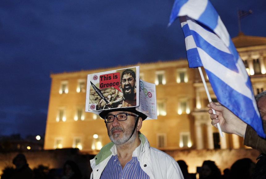 Protestuotojas Graikijoje