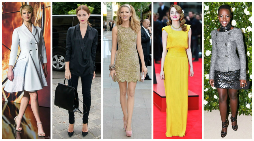 Geriausiai besirengiančios pasaulio moterys: Jennifer Lawrence, Emma Watson, Blake Lively, Emma Stone ir Lupita Nyong'o