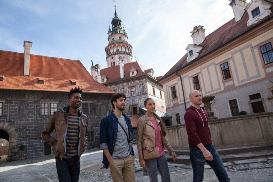 Česky Krumlovas. Turistai Čekijoje