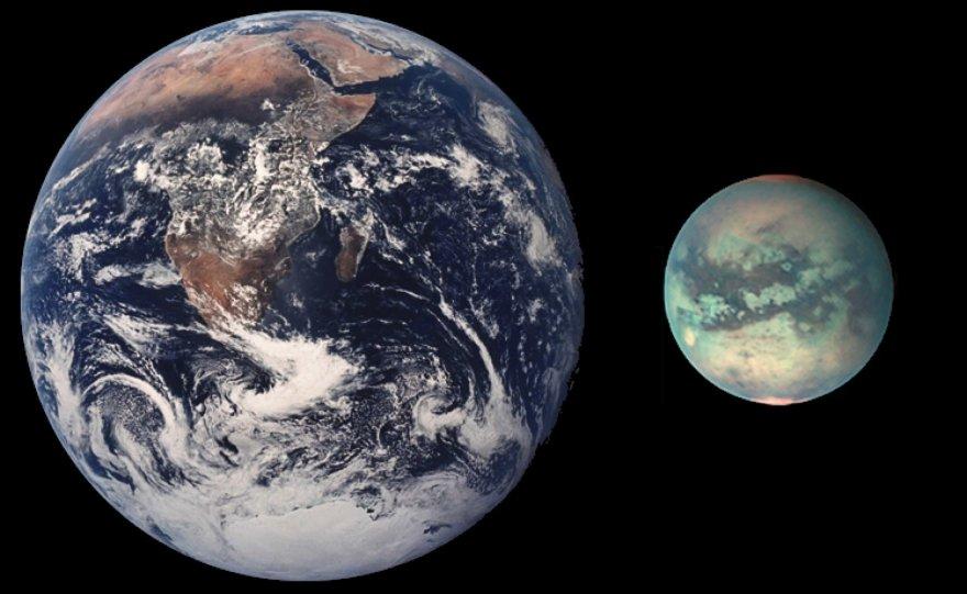 Žemės ir Titano dydžių palyginimas