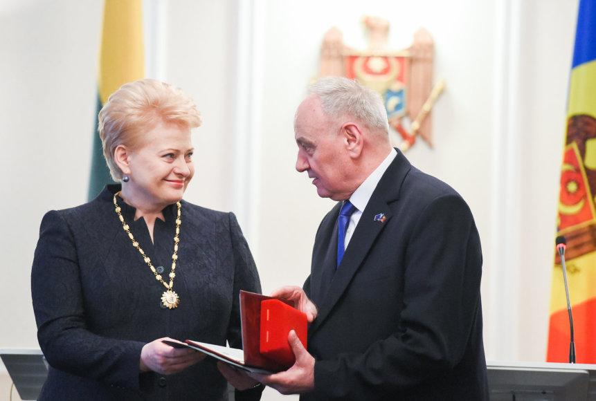 Lietuvos prezidentė Dalia Grybauskaitė ir Moldovos prezidentas Nicolae Timofti