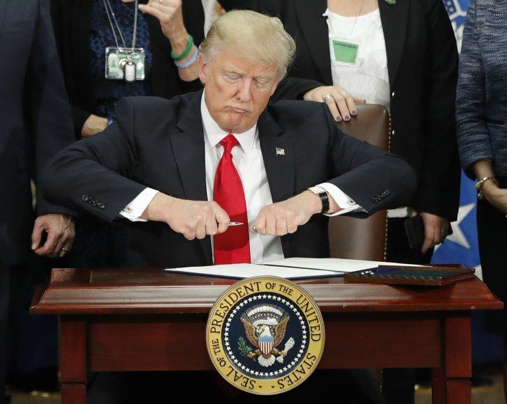 Donaldas Trumpas ketina pasirašyti įsakymą statyti sieną tarp JAV ir Meksikos