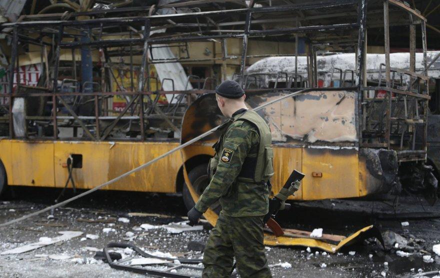 Donecke apšaudyta autobusų stotis