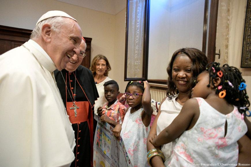 Popiežius Pranciškus susitiko su migrantais