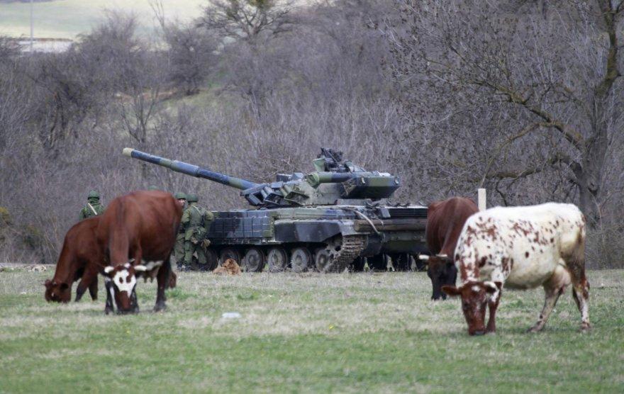 Rusų tankas Perevalnoje, Kryme.