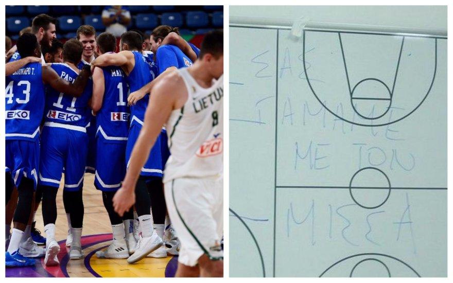 Graikijos krepšininkai ant derinių lentos užrašė žinutę Lietuvos krepšinio specialistams.