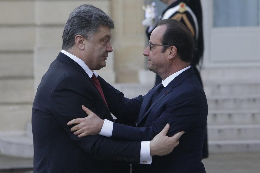Francois Hollande  ir Porošenka