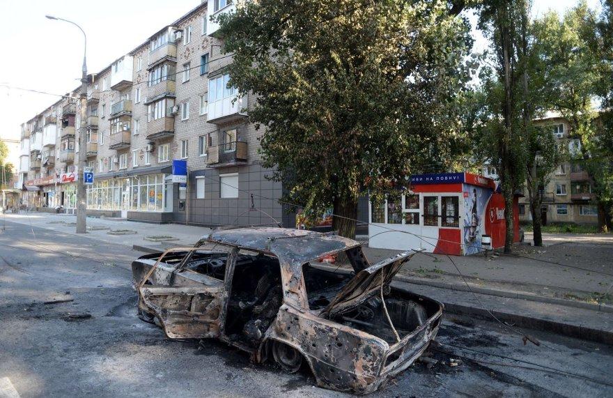 Donecke sudegęs automobilis