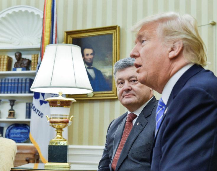 D.Trumpas ir P.Porošenka Baltuosiuose rūmuose
