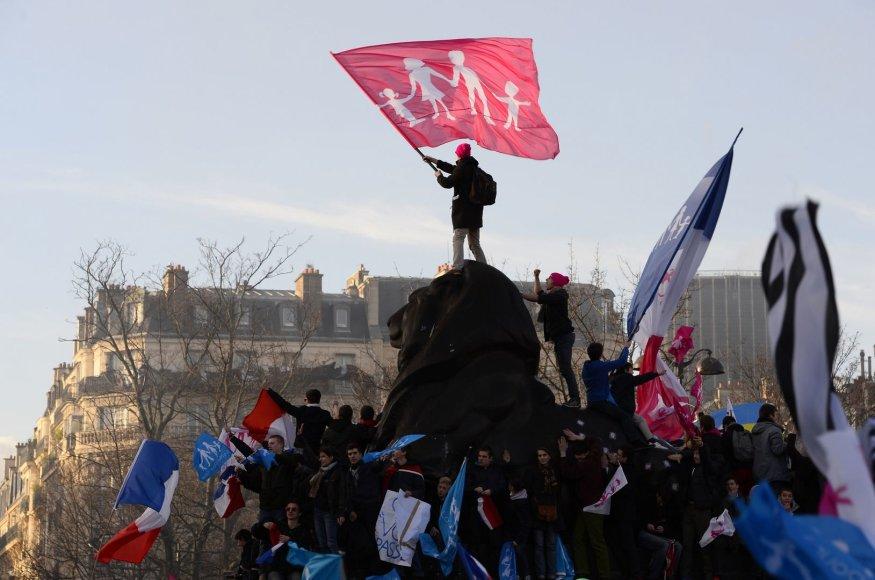 """Prancūzijoje demonstracija prieš vyriausybės """"šeimos fobiją"""""""