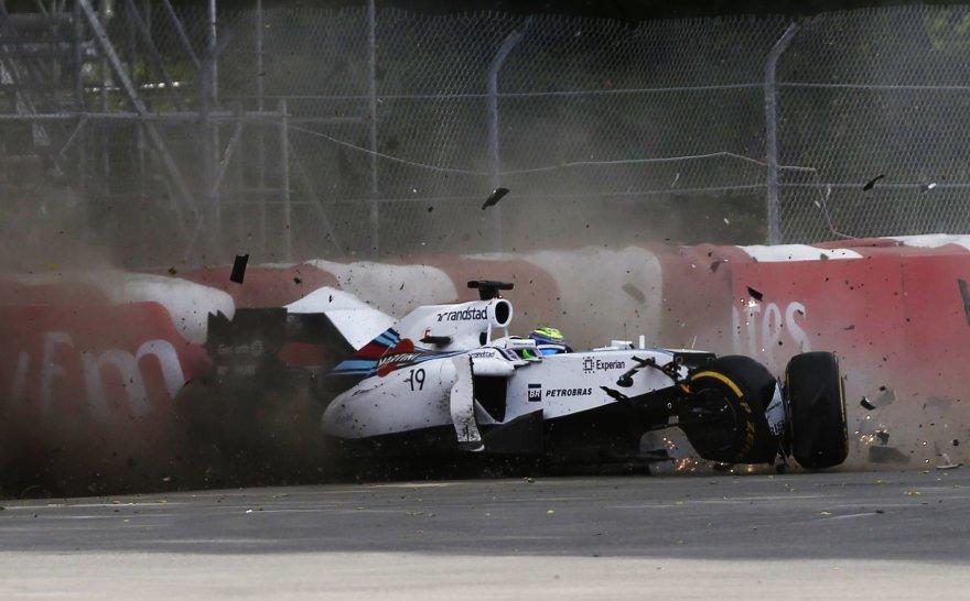 Felipe Massos ir Sergio Perezo avarija Kanados F-1 lenktynėse