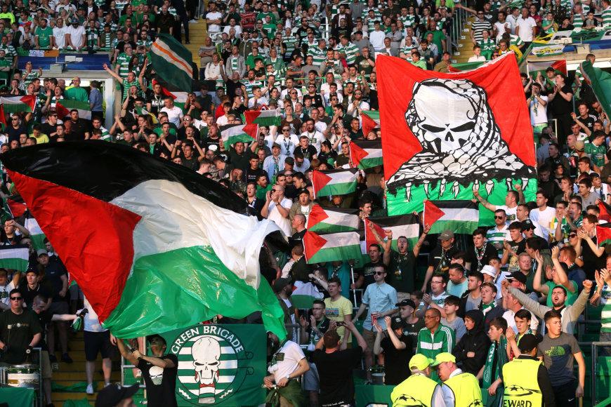 Palestinos vėliavos Glazgo stadione