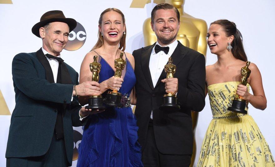 Markas Rylance'as, Brie Larson, Leonardo DiCaprio ir Alicia Vikander