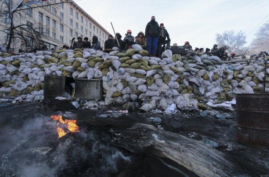 Protestuotojai ant barikados Kijeve