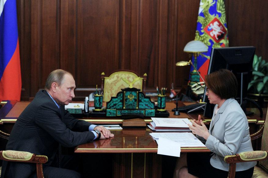 Vladimiras Putinas su Centrinio banko vadovė Elvyra Nabiulina