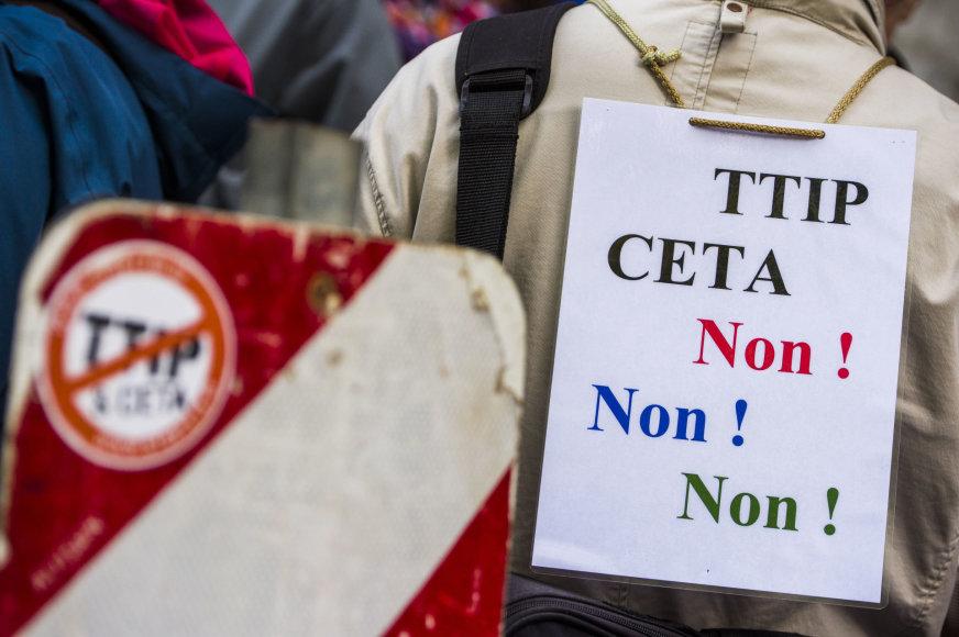 Protestas prieš CETA prie Valonijos parlamento