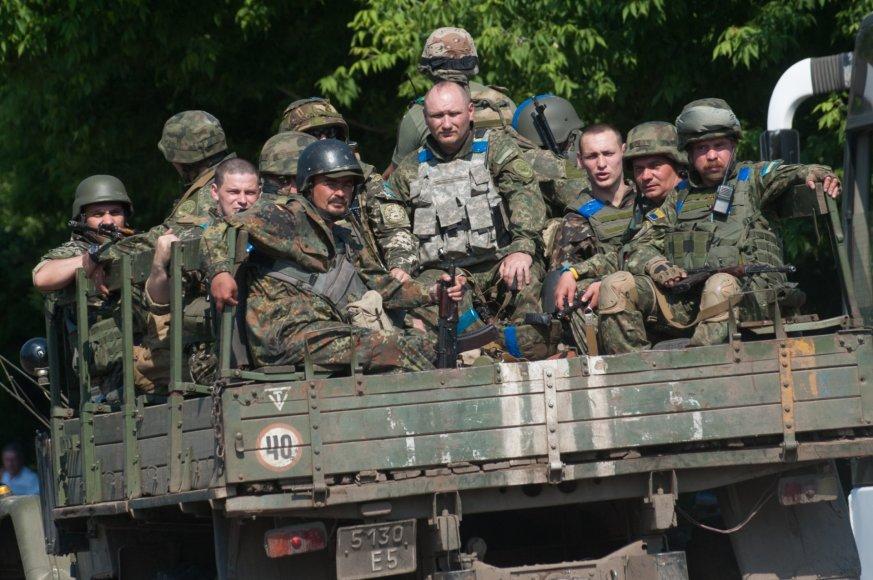 Ukrainiečių kariai netoli Marjinkos miestelio, Ukrainoje