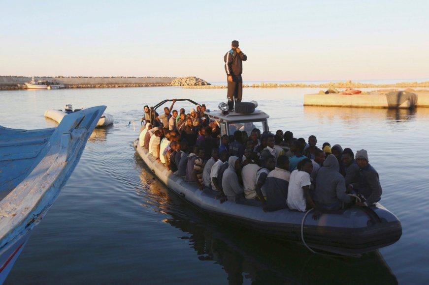 Migrantai prie Libijos krantų