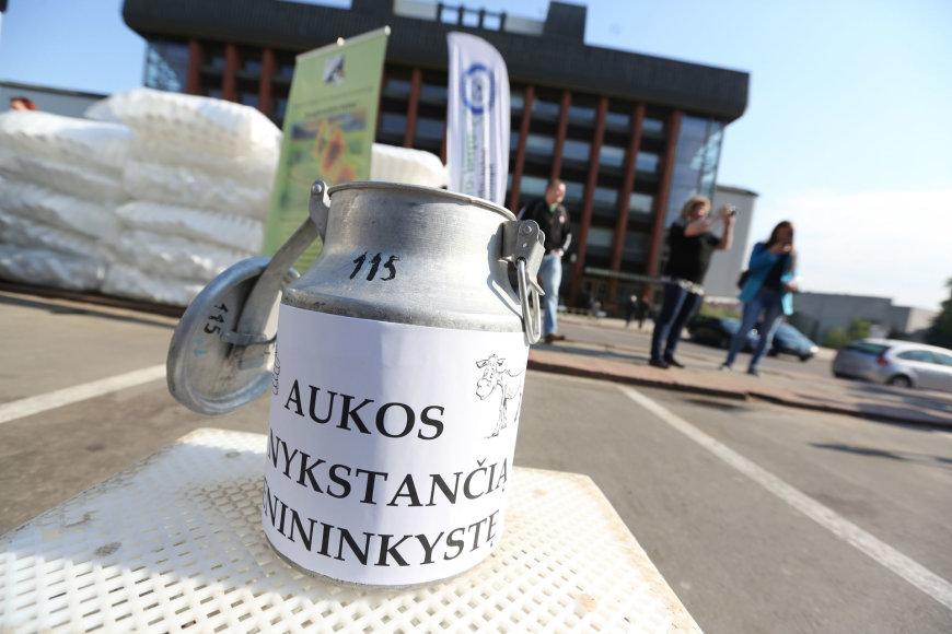 Nemokamo pieno dalijimo akcija prie Žemės ūkio ministerijos Vilniuje