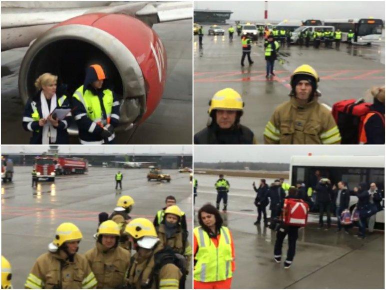 Rygos oro uoste nuslydo besileidžiantis lėktuvas