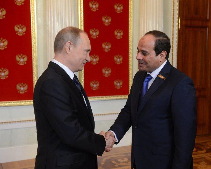 V.Putinas ir Egipto vadovas Abdel Fattah el-Sisi