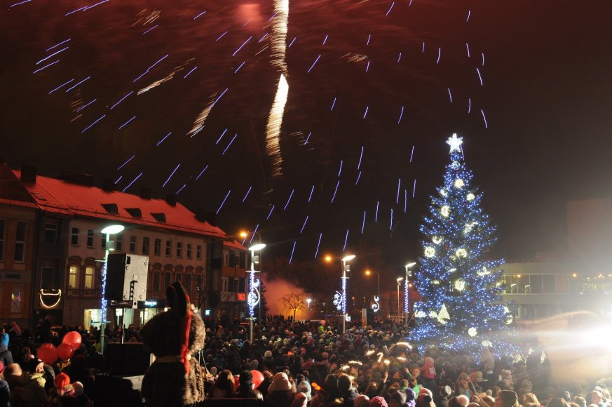 Kalėdų eglės įžiebimas Panevėžyje