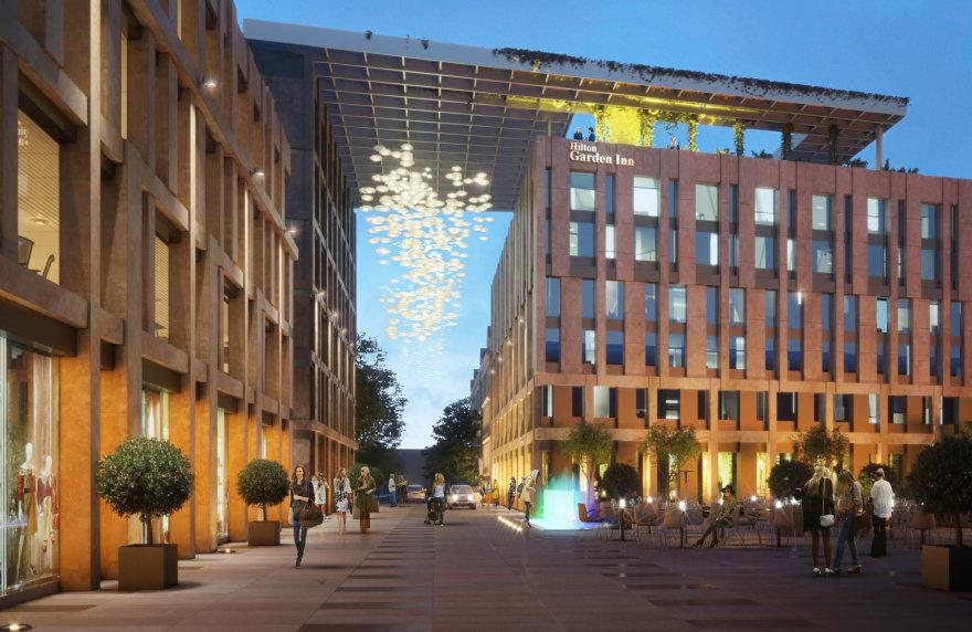 Konkursą laimėjusios bendrovės pasiūlymas pastatų kompleksui Gedimino prospekte