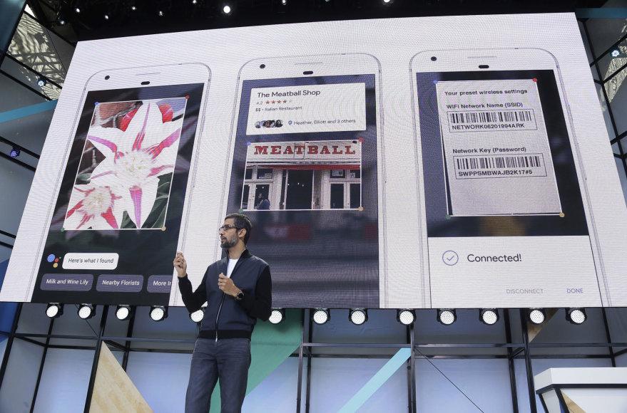 """""""Google"""" generalinis direktorius SUndaras Pichai pristato įmonės naujoves"""