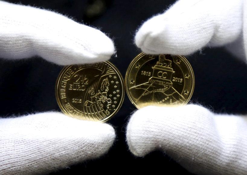 2,5 nominalo eurų monetos