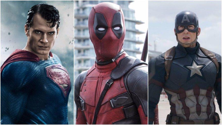 Superherojų koliažas / Supermenas, Deadpool, Kapitonas Amerika