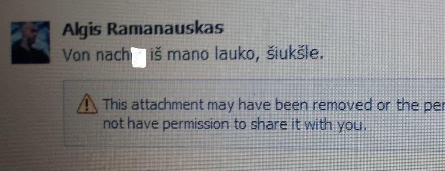 Algio Ramanausko atsakymas.